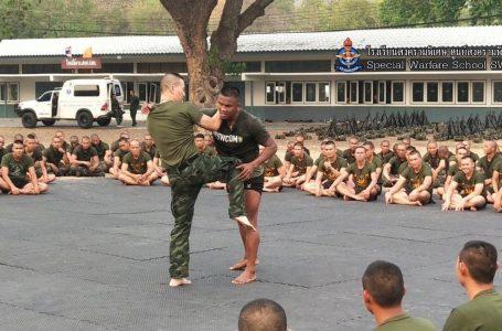 บัวขาว สอนศิลปะป้องกันตัวมวยไทยให้ นร.ทหาร พร้อมปะทะ หมอภาคย์