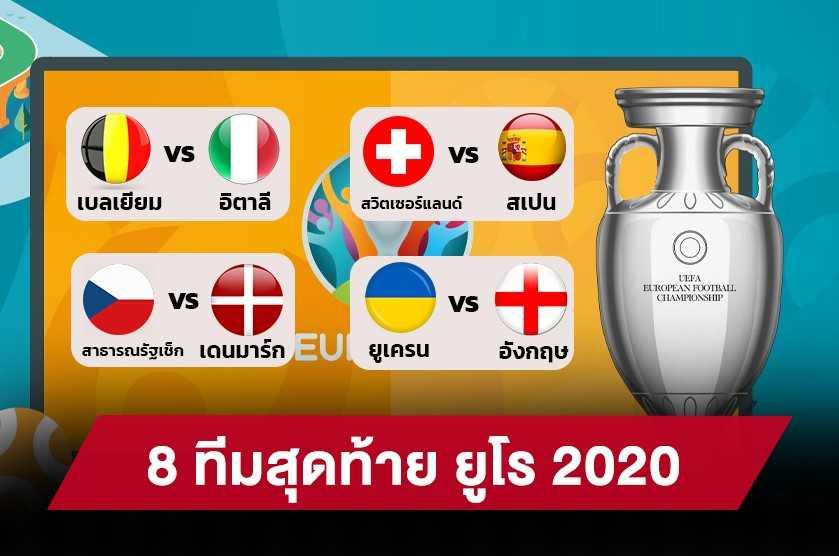 สรุป 8 ทีมสุดท้าย ศึกฟุตบอลยูโร 2020 พร้อมโปรแกรมนัดต่อไป