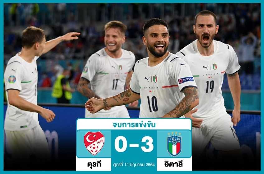 อิตาลีถล่มตุรกี 3-0 เปิดหัวยูโร
