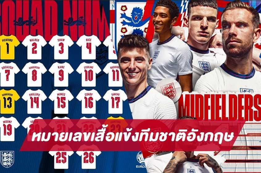 ประกาศหมายเลขเสื้อแข้งทีมชาติอังกฤษลุยยูโร 2020